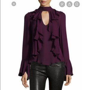 Cinq a sept purple ruffle long sleeve top